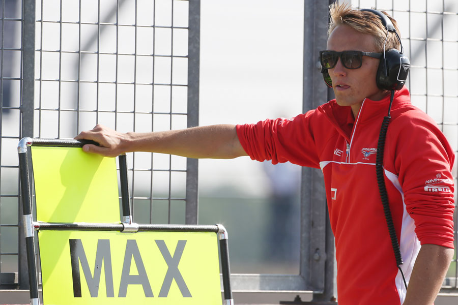 Max Chilton watches on from the pit wall