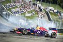 Jean Eric Vergne demonstrates a Red Bull F1 car