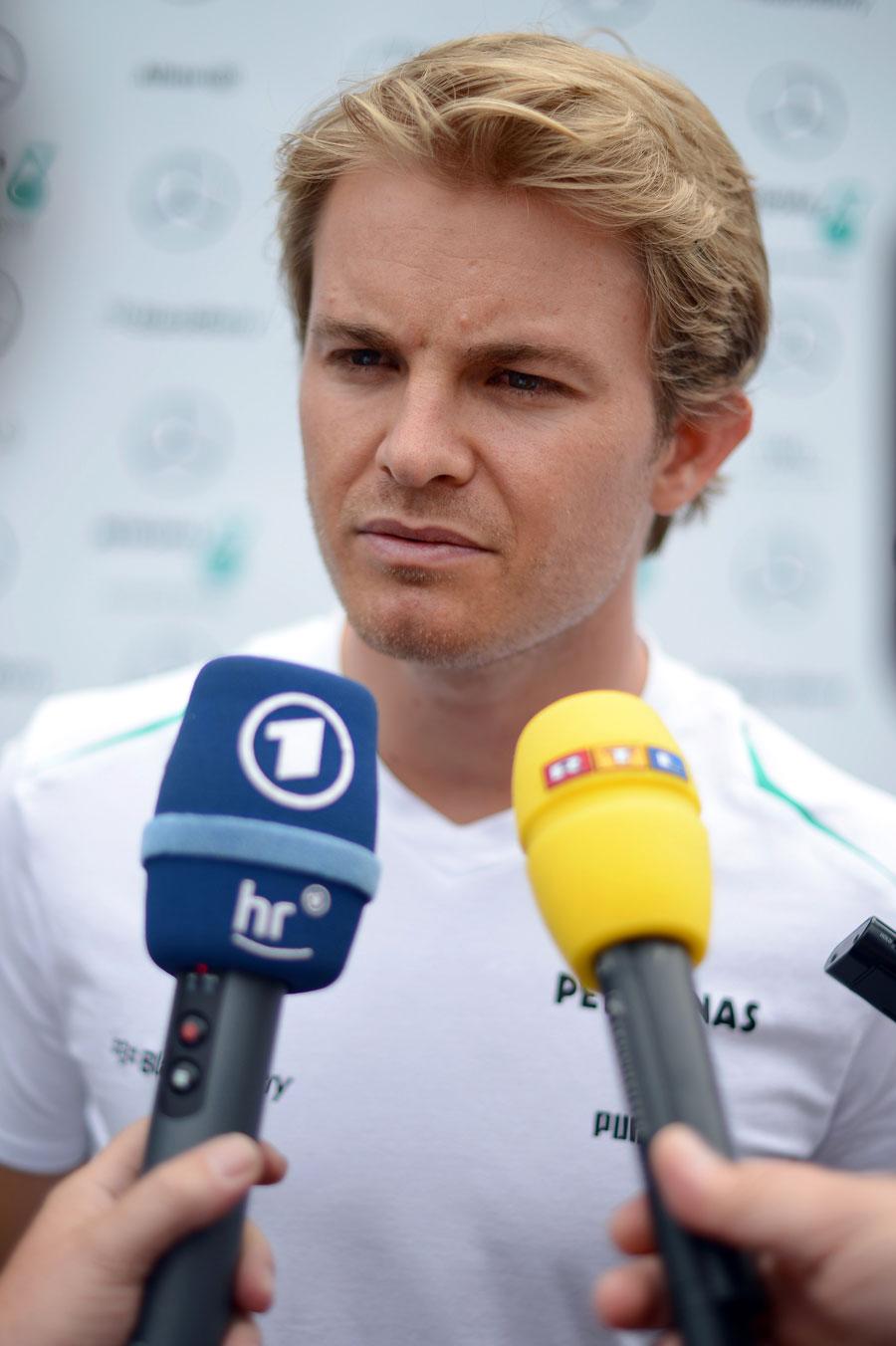 Nico Rosberg faces the media