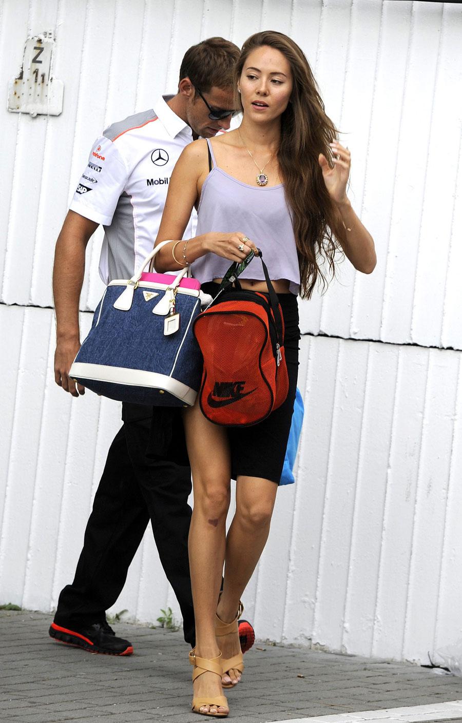 Jessica Michibata walks out of the McLaren garage