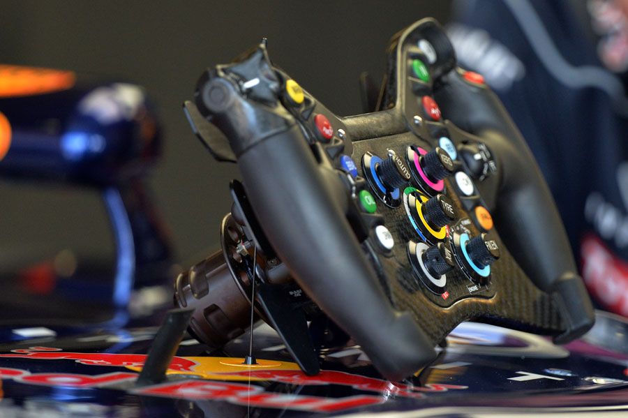 A close-up of the Red Bull steering wheel