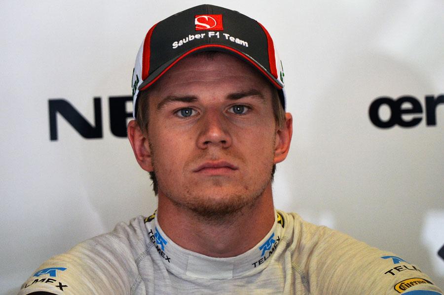 Nico Hulkenberg in the Sauber garage