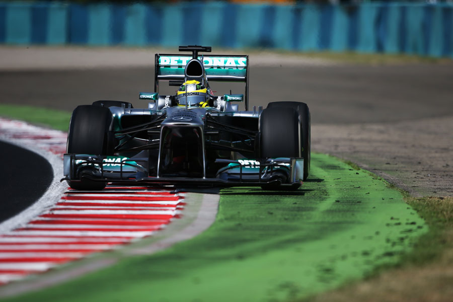 Nico Rosberg strays off the circuit in his Mercedes