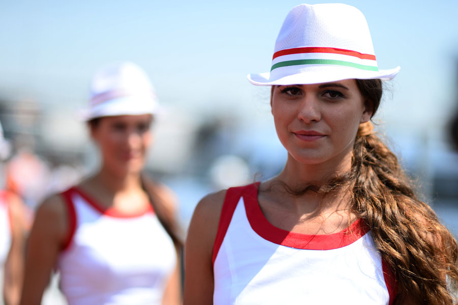 A  grid girl ahead of the start of the race