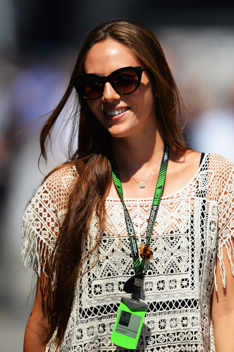Jessica Michibata walks through the paddock