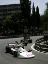 Lella Lombardi leads Jacky Ickx on her way to sixth place and half a championship point at the shortened Spanish Grand Prix