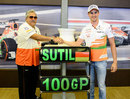 Adrian Sutil celebrates his 100th grand prix with Force India