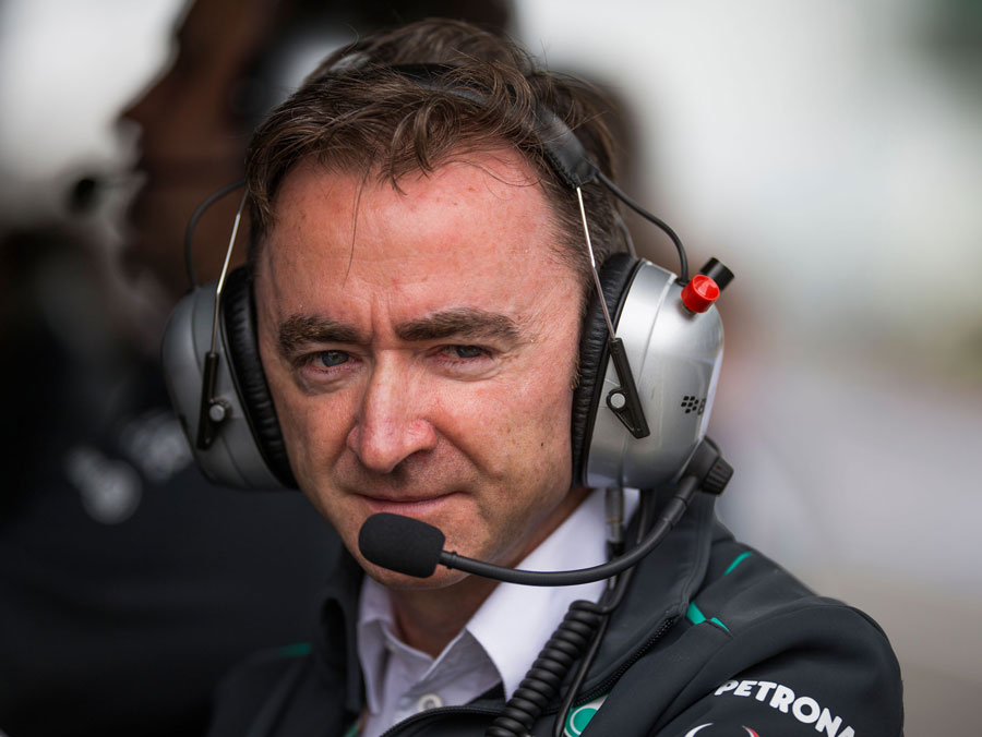 Paddy Lowe on the Mercedes pit wall