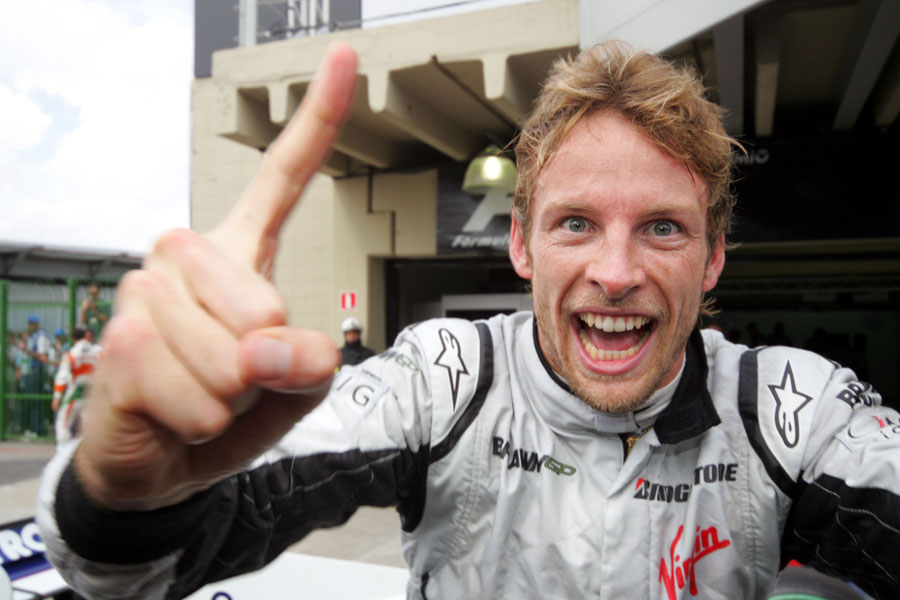 Button celebrates his championship win in Brazil