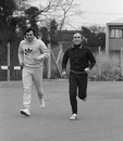 Alan Jones jogs with Frank Williams in 1978