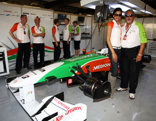 Force India owner Vijay Mallya and actress Deepika Padukone