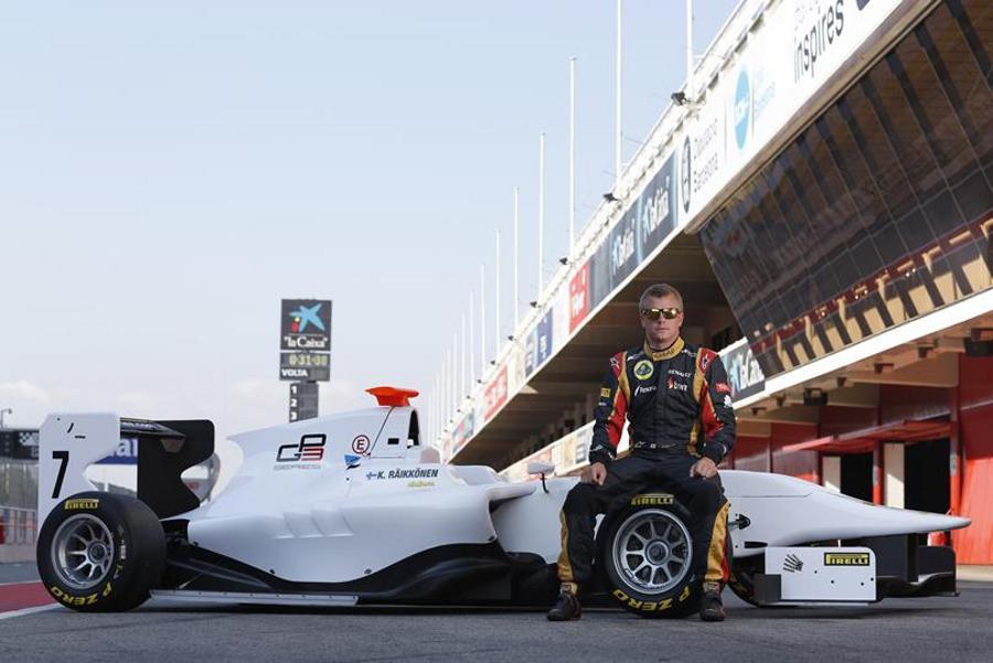 Kimi Raikkonen poses ahead of his day testing a GP3 car