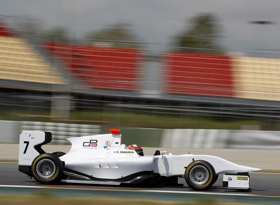 Kimi Raikkonen tests a GP3 car at the Circuit de Catalunya