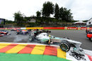 Nico Rosberg locks a wheel at La Source