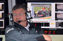 Ross Brawn watches on from the Mercedes pit wall