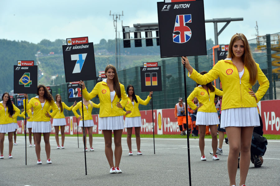 Grid girls line up ahead of the race