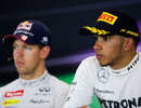 Sebastian Vettel and Lewis Hamilton in the post-race press conference