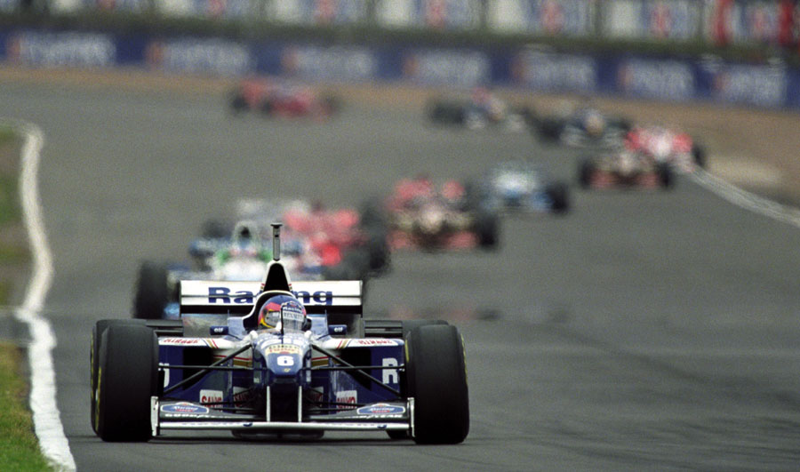 Jacques Villeneuve on his way to winning the British Grand Prix