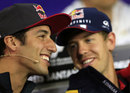 Daniel Ricciardo shares a joke with Sebastian Vettel in the press conference