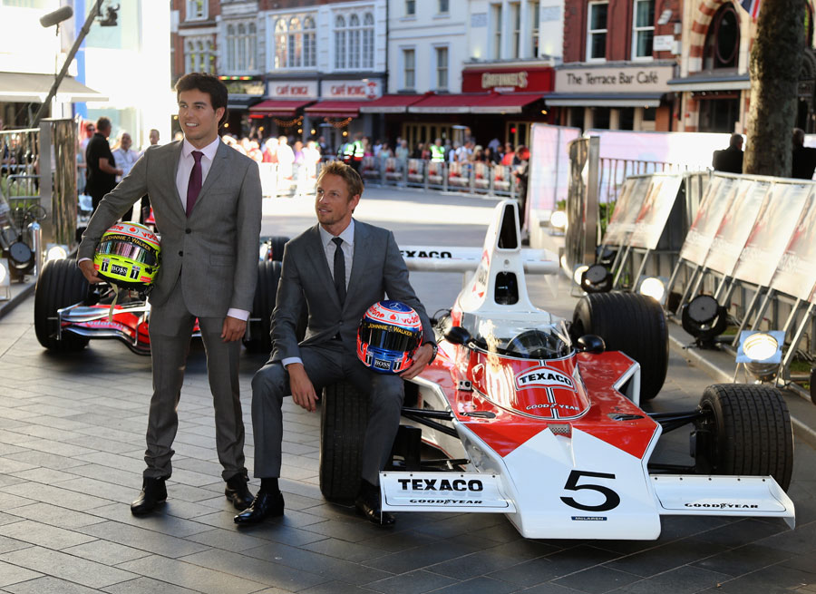 Jenson Button and Sergio Perez arrive at the premiere of the Hollywood film <I>Rush</I>