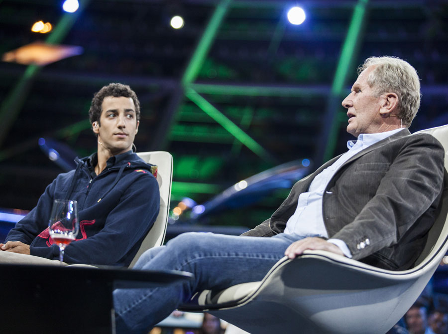 Helmut Marko talks at the unveiling of Daniel Ricciardo as a Red Bull driver