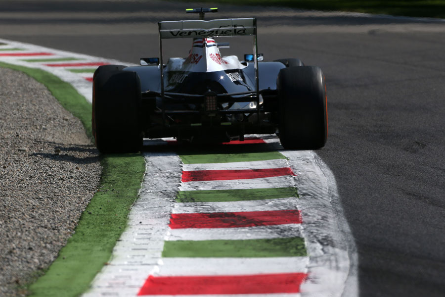 Valtteri Bottas skirts the gravel trap at the second chicane