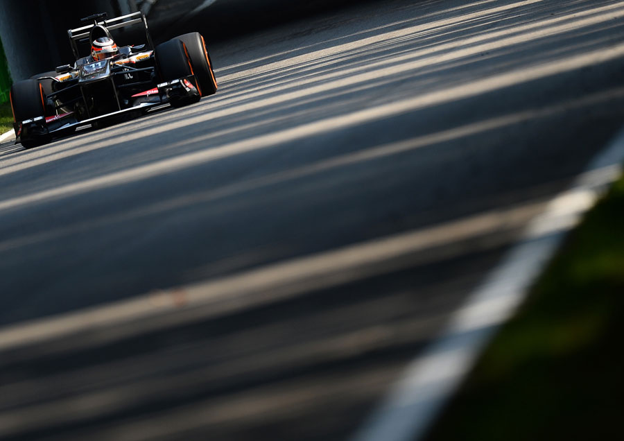 Nico Hulkenberg crosses under the old banking