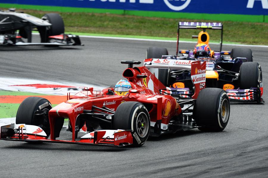 Fernando Alonso is closely followed by Mark Webber