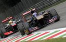 Daniel Ricciardo leads Sergio Perez