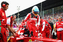 Fernando Alonso climbs out of the cockpit of his Ferrari on the grid