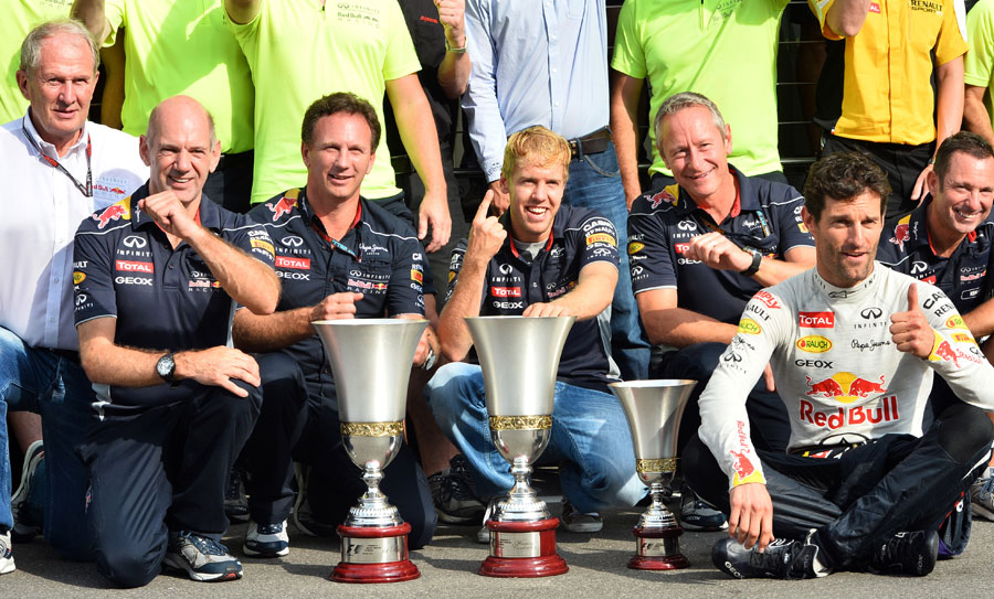 Sebastian Vettel and Red Bull celebrate victory in the paddock