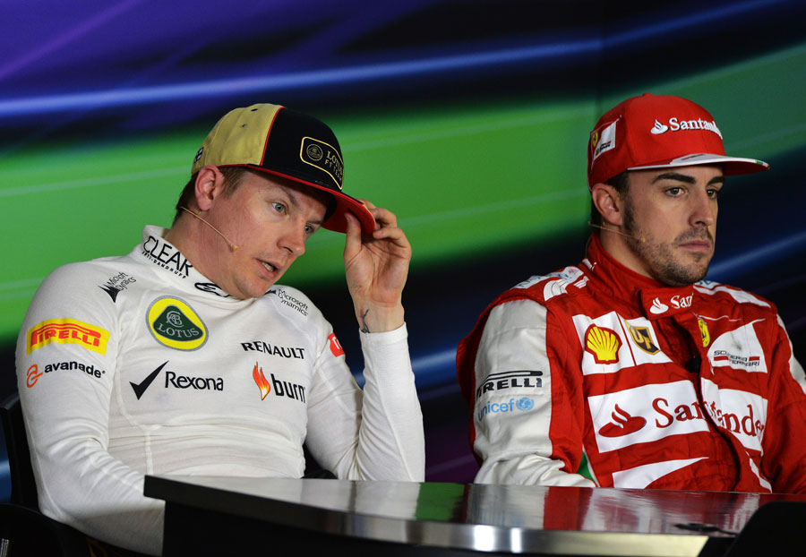 Kimi Raikkonen and Fernando Alonso in the post-race press conference