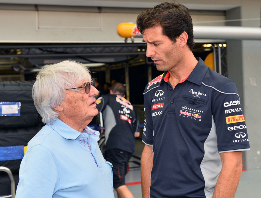 Mark Webber talks with Bernie Ecclestone