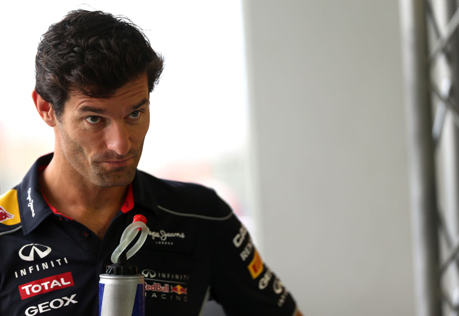 Mark Webber in the Red Bull motorhome