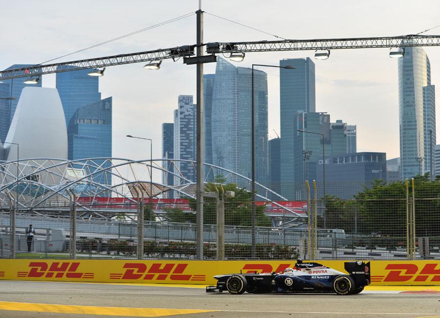 Pastor Maldonado on track in the Williams