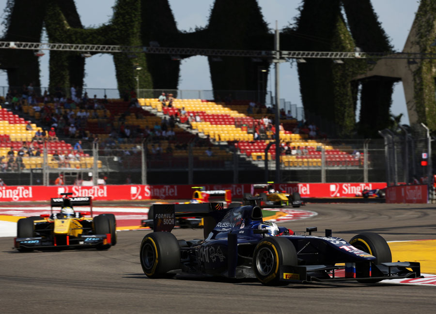 Sam Bird leads Marcus Ericsson through the opening part of the lap