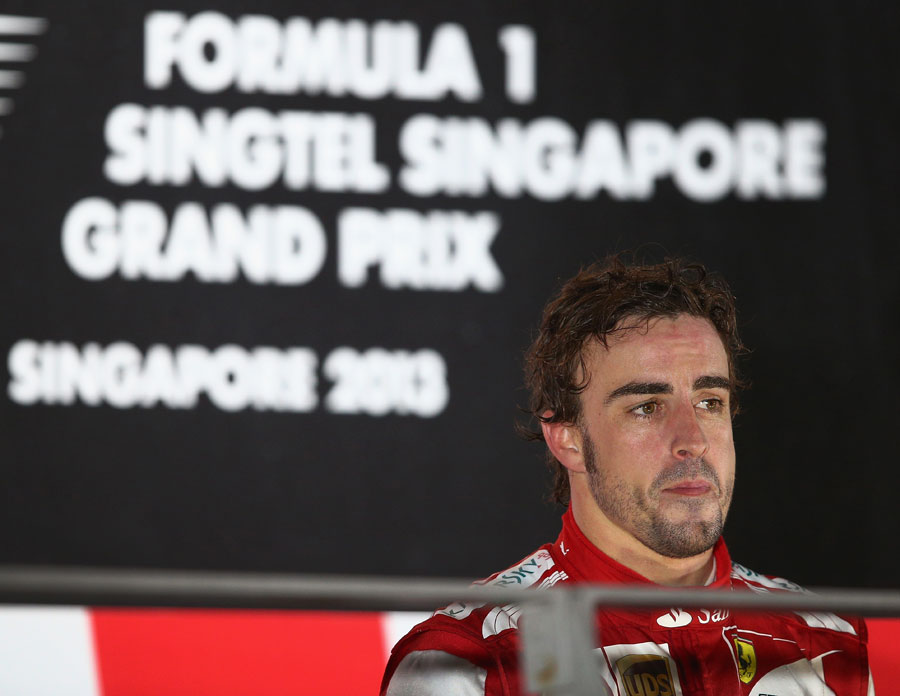 Fernando Alonso on the podium