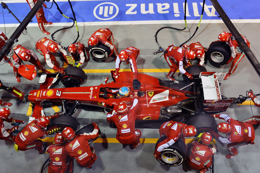 Fernando Alonso pits early in the race