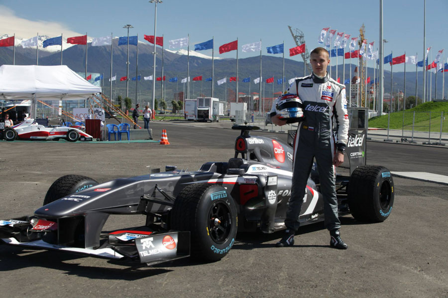 Sergey Sirotkin makes his first appearance for Sauber at a demonstration run in Sochi