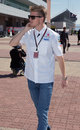 Nico Hulkenberg arrives at the circuit on Thursday