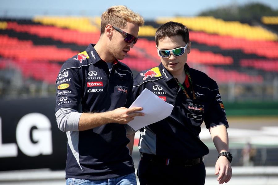 Sebastian Vettel walks the track on Thursday