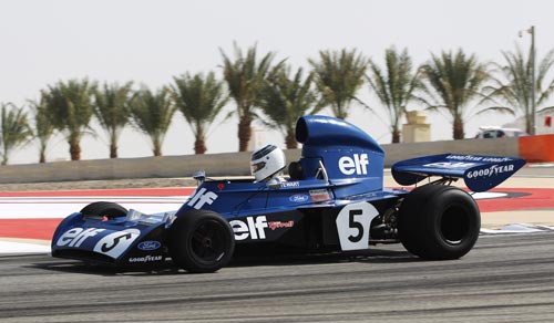 Jackie Stewart drives his 1973 Tyrrell 006
