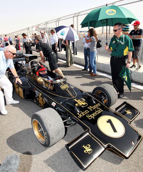 Emerson Fittipaldi in his 1972 Lotus 72D