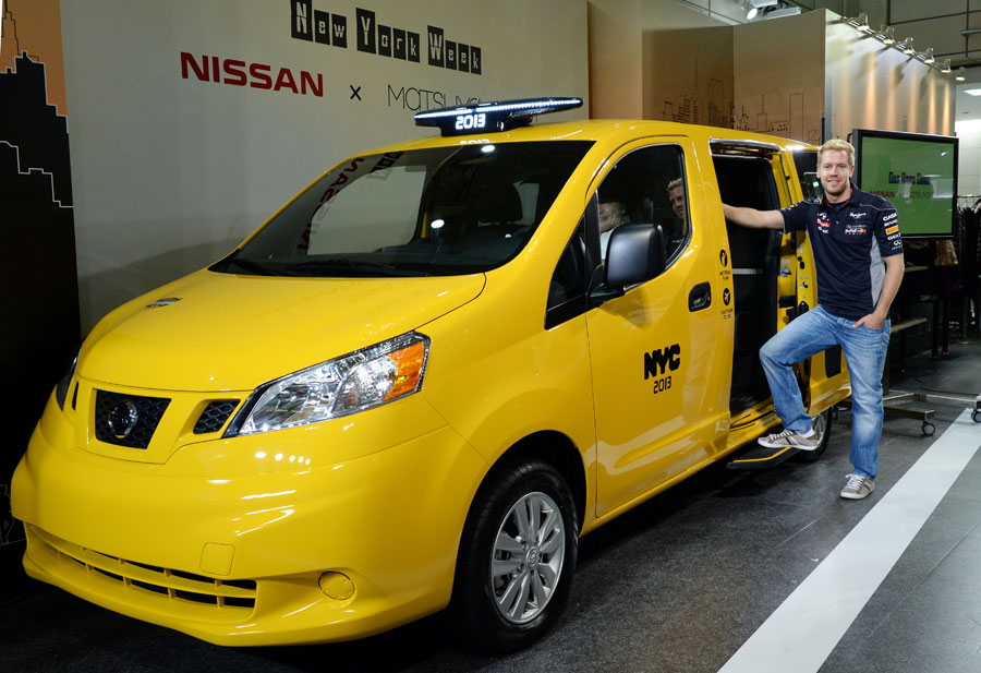 Sebastian Vettel helps launch the next-generation New York yellow taxi