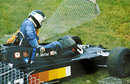 Jean-Pierre Jarier climbs out of his shadow after spinning off at Woodcote