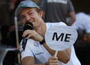 Nico Rosberg conducts a television interview