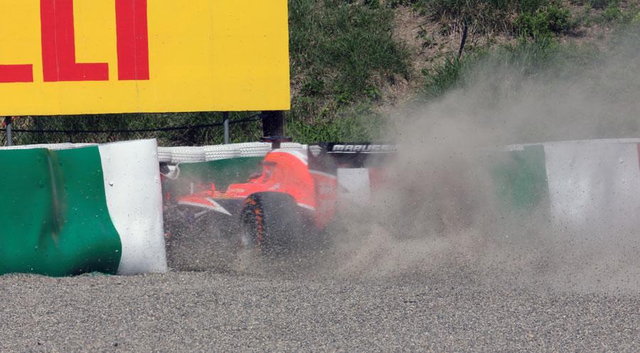 Jules Bianchi crashes at Degner 2