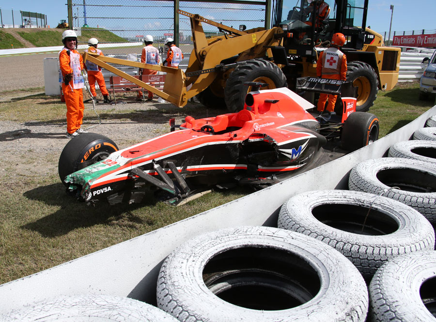 The remains of Jules Bianchi's Marussia