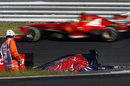 Felipe Massa passes Jean-Eric Vergne's stricken Toro Rosso