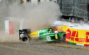 Giedo van der Garde hits the barrier hard after colliding with Jules Bianchi